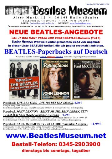 Beatles Museum - Katalog 39 mit Hyperlinks