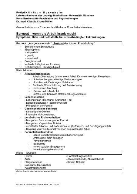 Burnout – wenn die Arbeit krank macht - RoMed Kliniken