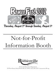 Not-for-Profit Information Booth - Village of Romeoville