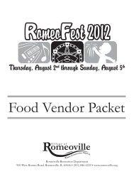 Food Vendor Packet - Village of Romeoville