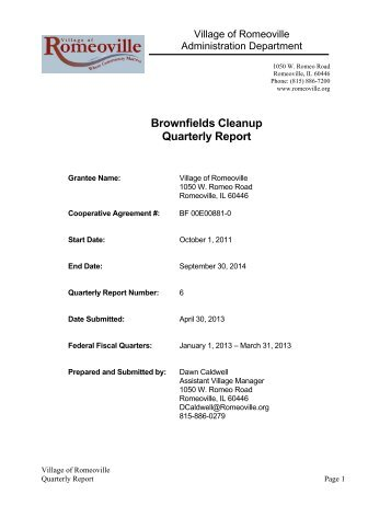 Brownfields Cleanup Quarterly Report - Village of Romeoville