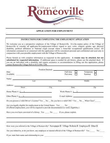 APPLICATION FOR EMPLOYMENT - Village of Romeoville