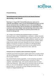 Romina Mineralbrunnen investiert auch 2012 in den ... - EiszeitQuell