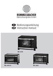 Bedienungsanleitung Instruction manual - ROMMELSBACHER ...
