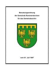 D 3 Benutzungsordnung f. das Gemeindearchiv ... - Rommerskirchen