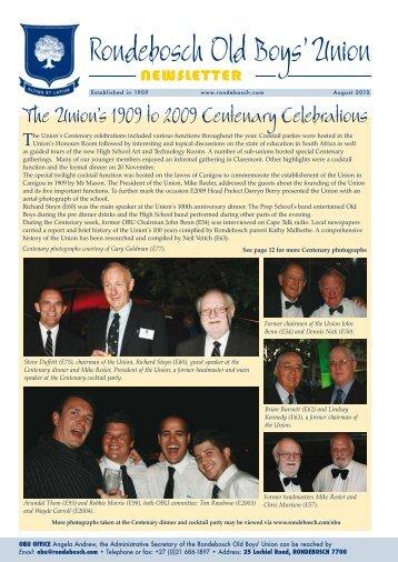 August 2010 newsletter ***NEW - Rondebosch Old Boys' Union
