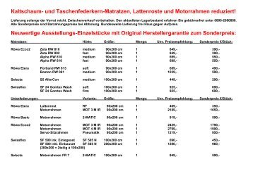 Kaltschaum- und Taschenfederkern-Matratzen, Lattenroste und ...