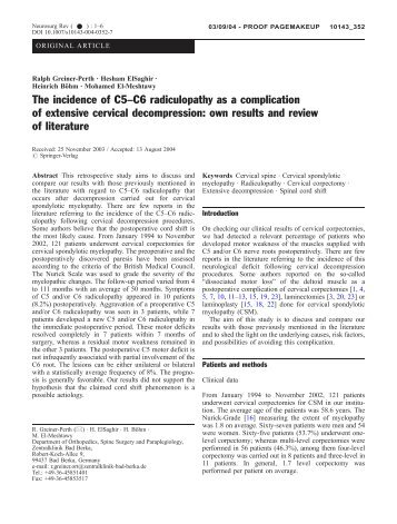 The incidence of C5–C6 radiculopathy as a complication of ...