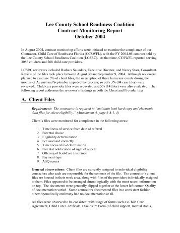 FY0405 Contractor Monitoring Report.pdf - Early Learning Coalition ...