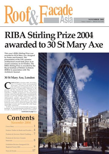 RIBA Stirling Prize 2004 awarded to 30 St Mary Axe - Roof & Facade