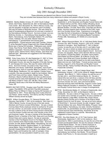 Kentucky Obituaries July 2001 through December 2001 - RootsWeb