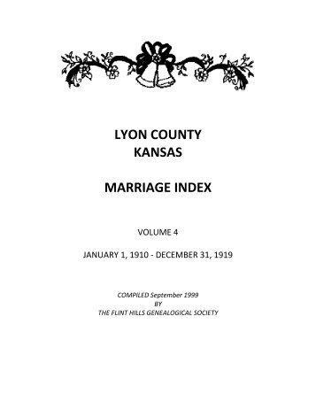 Lyon county kansas marriage index - rootswe - RootsWeb