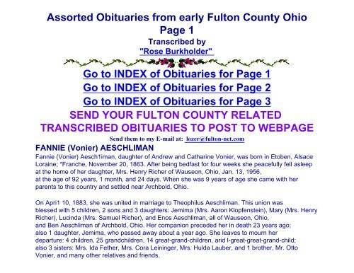 Assorted Obituaries from early Fulton County Ohio Page     - RootsWeb