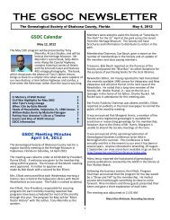 THE GSOC NEWSLETTER - RootsWeb - Ancestry.com