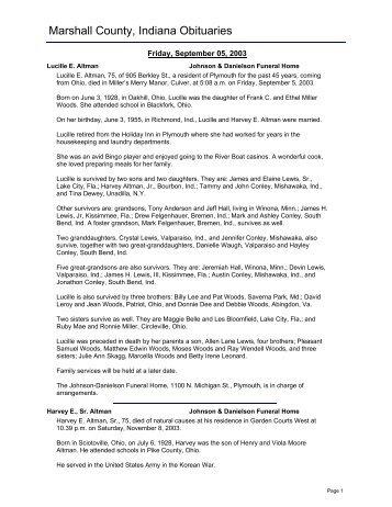 Marshall County, Indiana Obituaries - RootsWeb