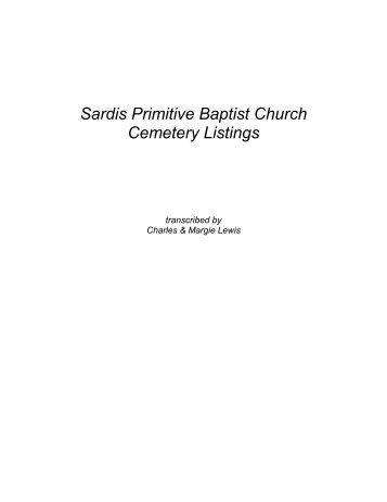Sardis Primitive Baptist Church Cemetery Listings - RootsWeb