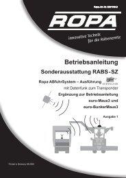 Bedienungsanleitung Sonderausstattung RABS-SZ - ROPA Fahrzeug