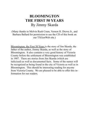 BLOOMINGTON THE FIRST 50 YEARS By Jimmy Skarda - RootsWeb