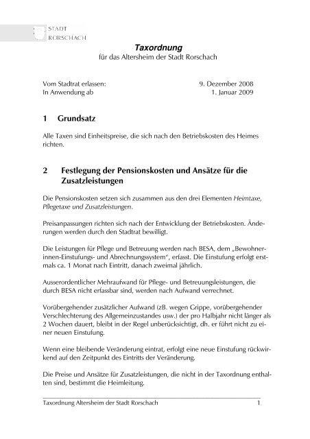 Taxordnung 1 Grundsatz 2 Festlegung der ... - Stadt Rorschach