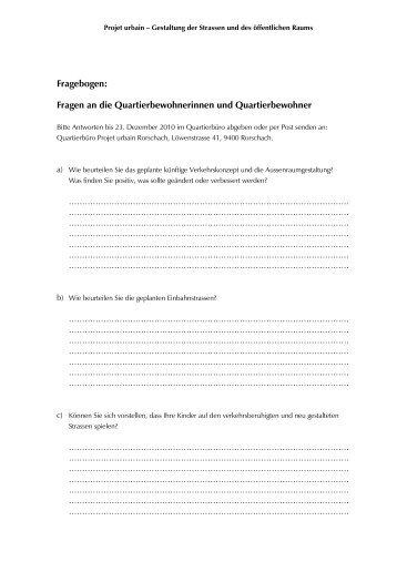 Fragebogen: Fragen an die Quartierbewohnerinnen und ...