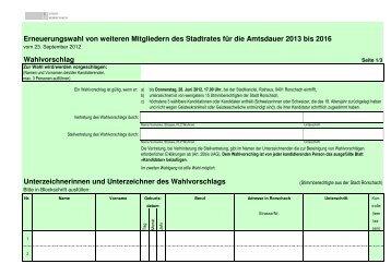 Wahlvorschlag - Stadt Rorschach
