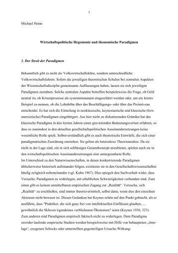 Michael Heine Wirtschaftspolitische Hegemonie und ökonomische ...