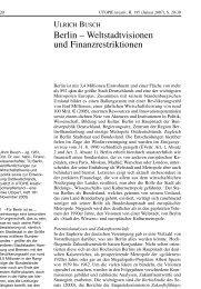 Berlin – Weltstadtvisionen und Finanzrestriktionen
