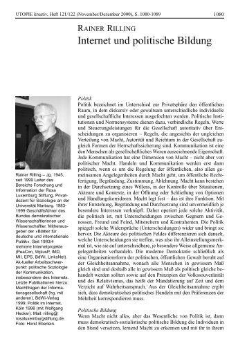 Utopie Kreativ 121/122 - Rosa-Luxemburg-Stiftung