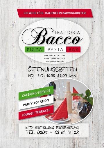 Trattoria Bacco in Oberhausen - Unsere aktuelle Speisekarte
