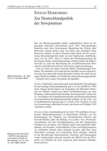 Zur Deutschlandpolitik der Sowjetunion