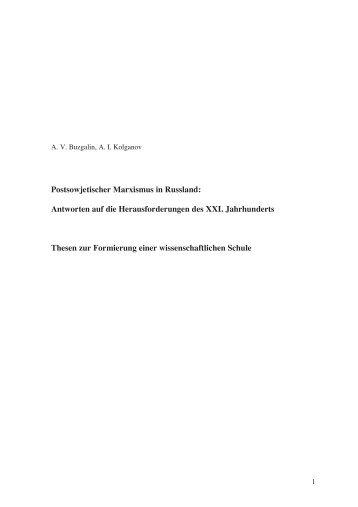 Postsowjetischer Marxismus in Russland - Rosa-Luxemburg-Stiftung