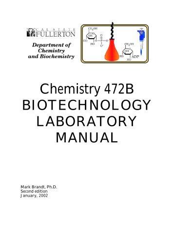 chemistry 422 biochemistry laboratory manual rh yumpu com Organic Chemistry Lab Chemistry Lab Report