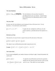 Basics of Differentiation – Review The Limit ... - Rose-Hulman