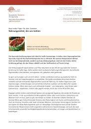Nahrungsmittel, die uns kühlen - Ayurveda Gesundheits