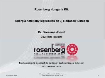 Rosenberg Hungária Kft. Energia hatékony légkezelés az új ...