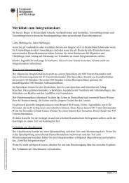 Merkblatt zum Integrationskurs