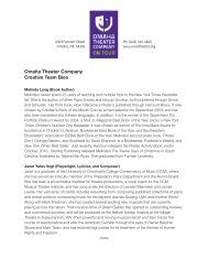 Omaha Theater Company Creative Team Bios - The Rose
