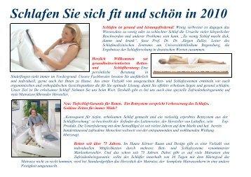 Schlafen Sie sich fit und schön in 2010 - Martin Körner Raum und ...