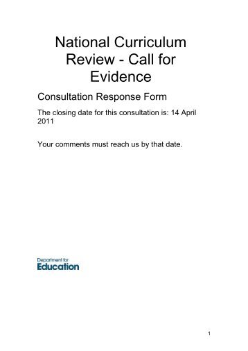 National Curriculum Review - Call for Evidence - RoSPA