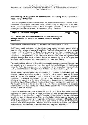 Implementing EC Regulation 1071/2009 Rules Concerning ... - RoSPA