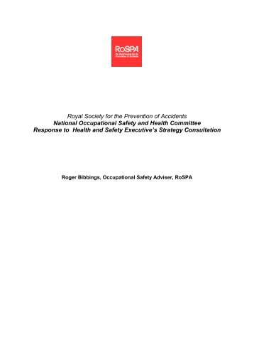National Occupational Safety and Health Committee ... - RoSPA