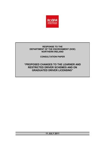 Proposed Changes to the Learner and Restricted Driver ... - RoSPA