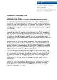 Press Release – September 24, 2009 Rosskopf & Partner Group ...
