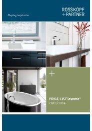 PrICe lIst lavanto® 2013 / 2014 - Rosskopf & Partner AG