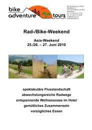Rad-/Bike-Weekend - Bike Adventure Tours