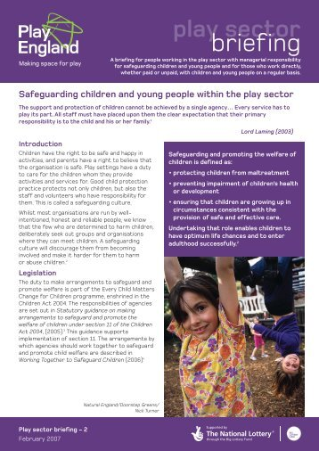 Safeguarding children and young people within the ... - Play England
