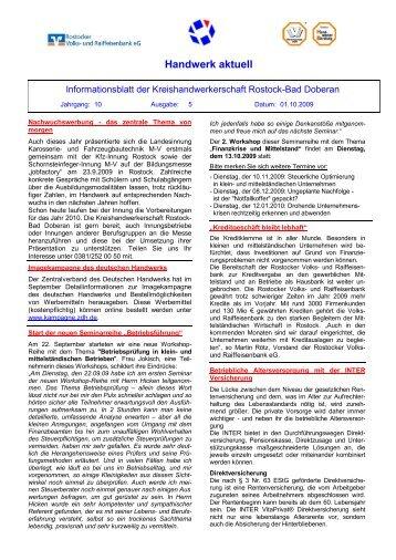 Handwerk aktuell - Kreishandwerkerschaft Rostock - Bad Doberan