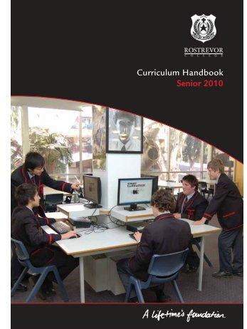 Senior School Curriculum Handbook 2010.pdf - Rostrevor College