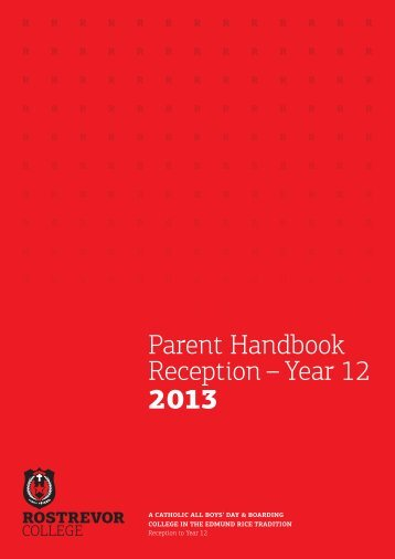 Parent Handbook Reception – Year 12 2013 - Rostrevor College