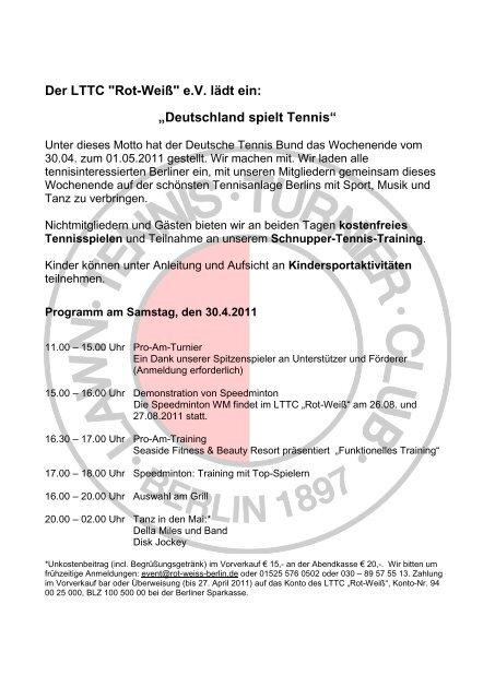 """Deutschland spielt Tennis - LTTC """"Rot-Weiß"""""""